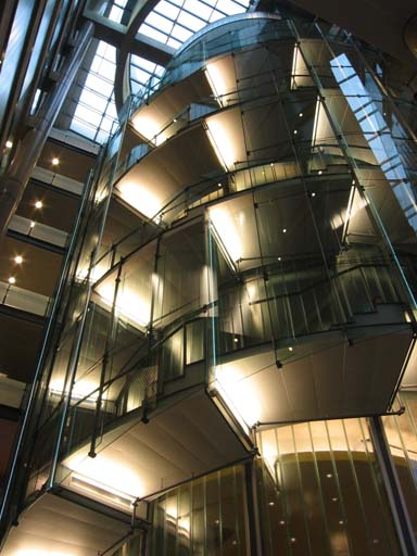 An image of the spiral staircase at the Bahen Centre