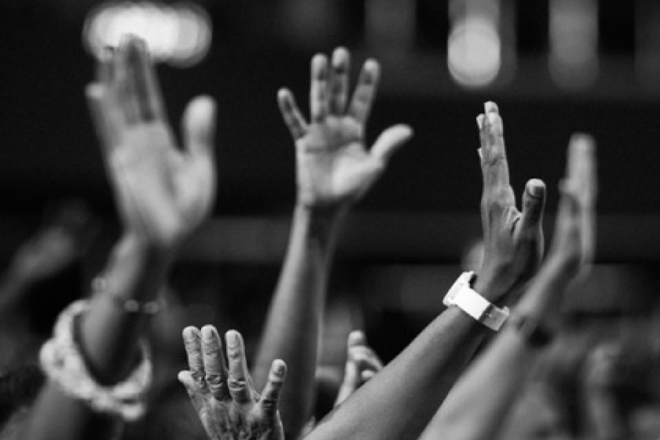 raised voting hands